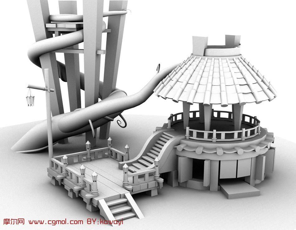 转载作品 一个场景建筑,亭子,maya模型 高清图片