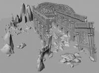 一个教堂的废墟场景,maya模型图片