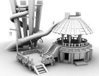 一个场景建筑,亭子,maya模型