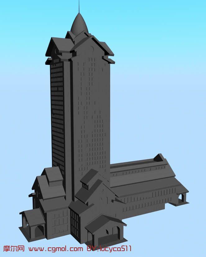 高层塔式建筑,塔3d模型图片