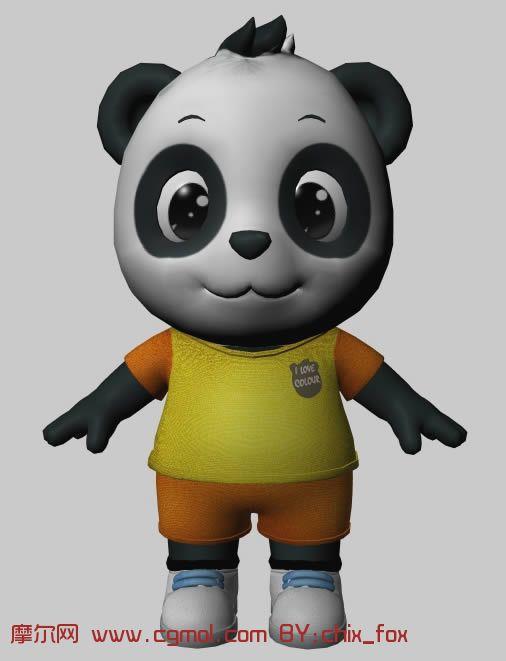可爱的熊猫,maya模型 有贴图 卡通角色 动画角色 高清图片
