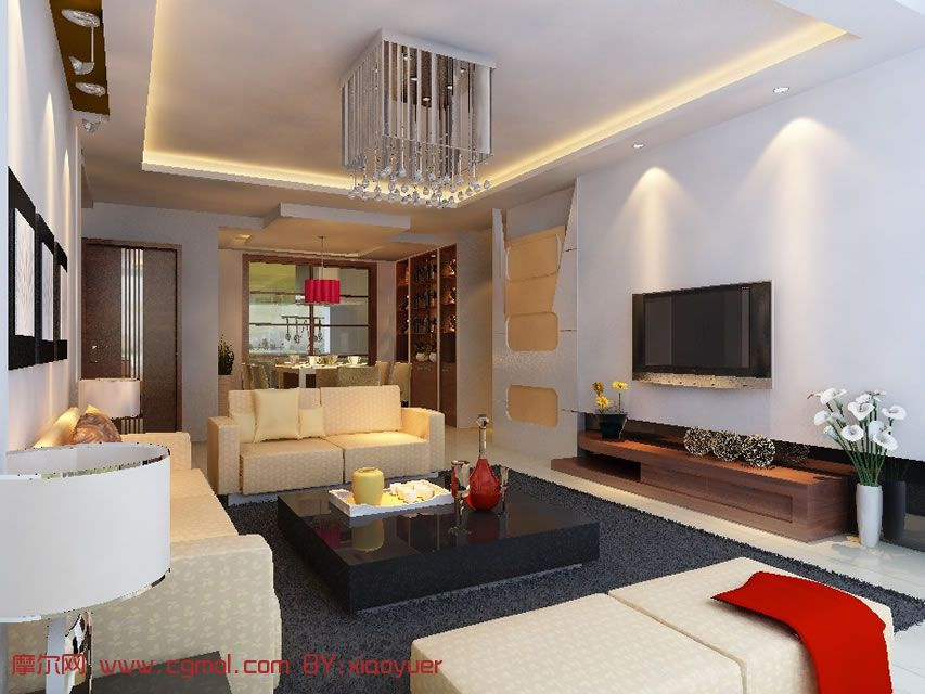 简装家居,室内效果设计3d模型