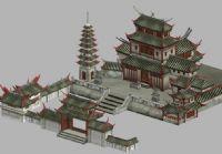 游戏中的寺庙,古寺,寺庙群场景3D模型