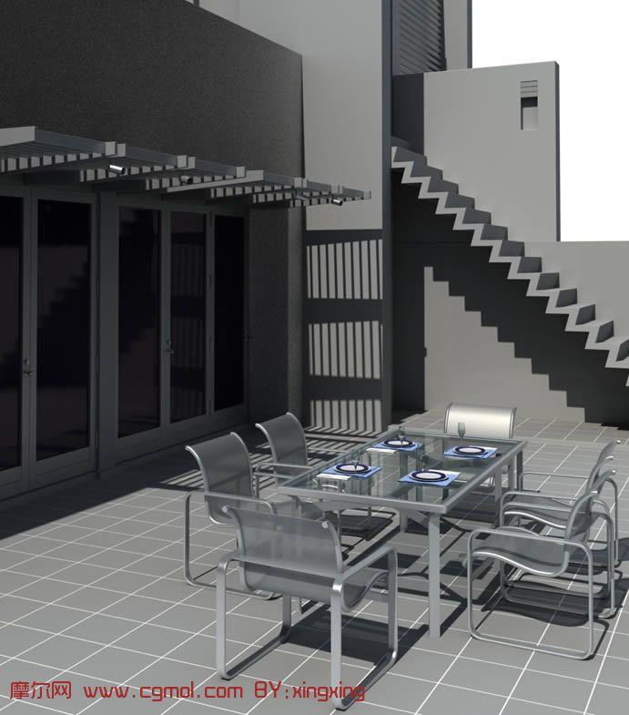 楼层户外阳台设计3D模型