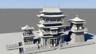 中国古代气派城楼建筑,maya模型