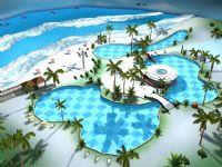 漂亮的沙滩,度假胜地,阳光泳池场景3D模型