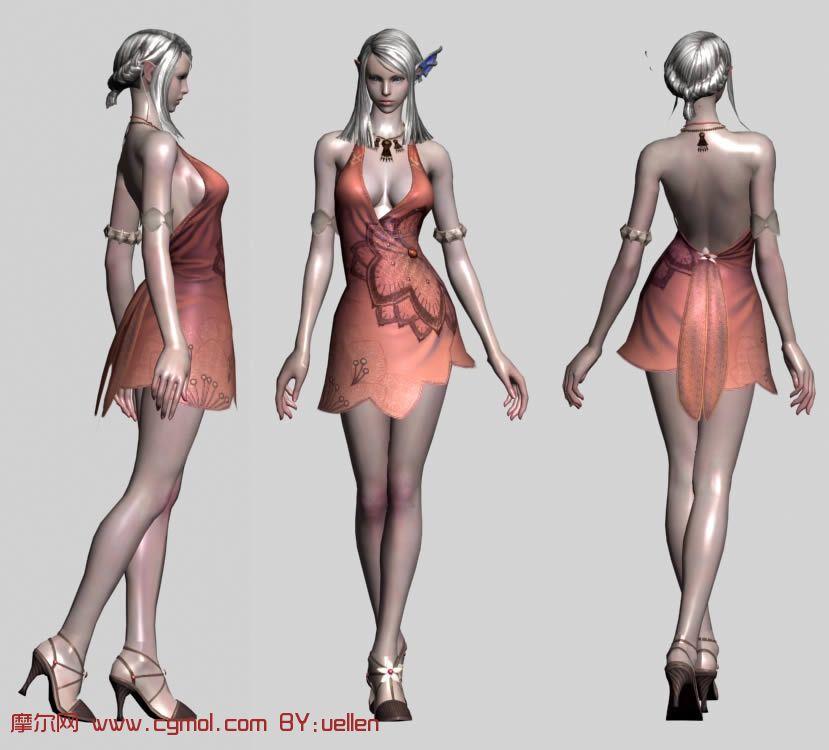 的女性角色3d模型