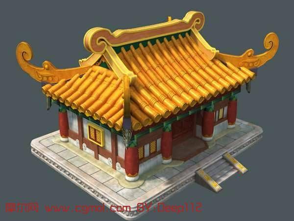 Q版游戏房子3D模型,古代场景,场景模型,3D模型免