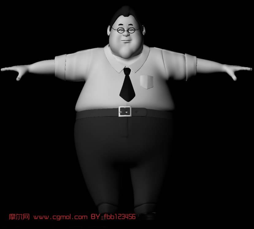 胖子 maya人物模型 高清图片