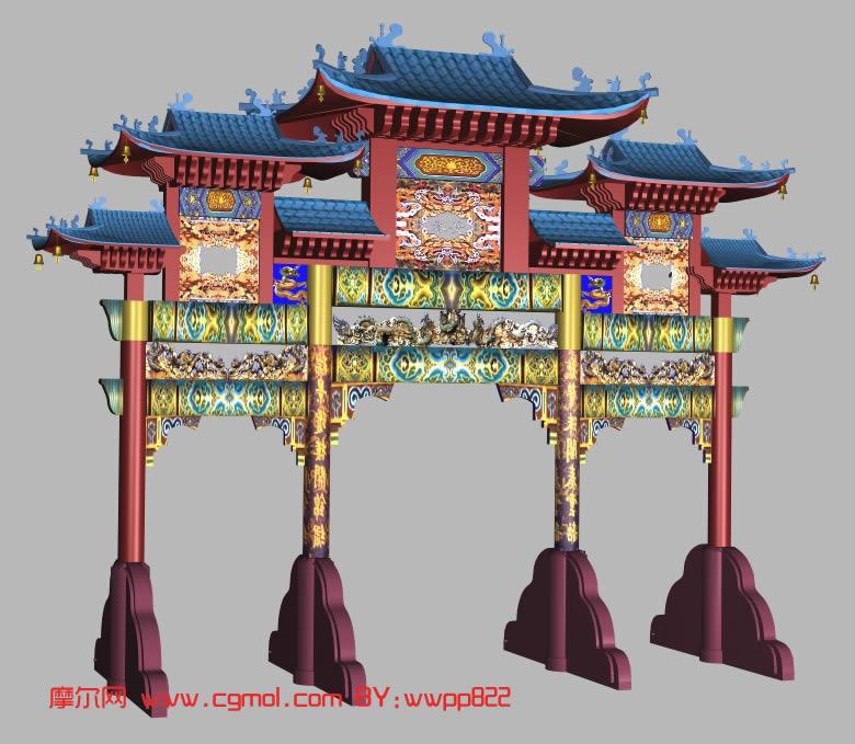 牌坊,中式建筑,建筑模型