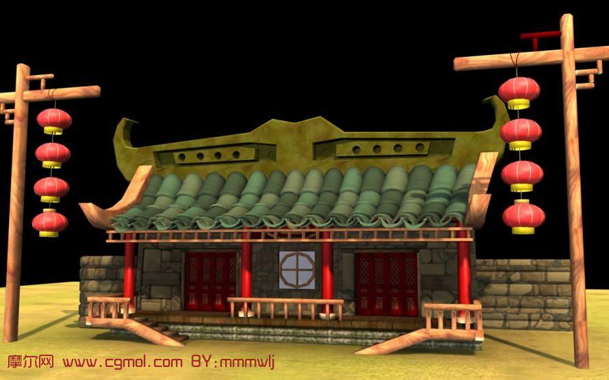 q版房屋 ,小店,maya模型,古代 场景 , 场景 模型,3d 高清图片