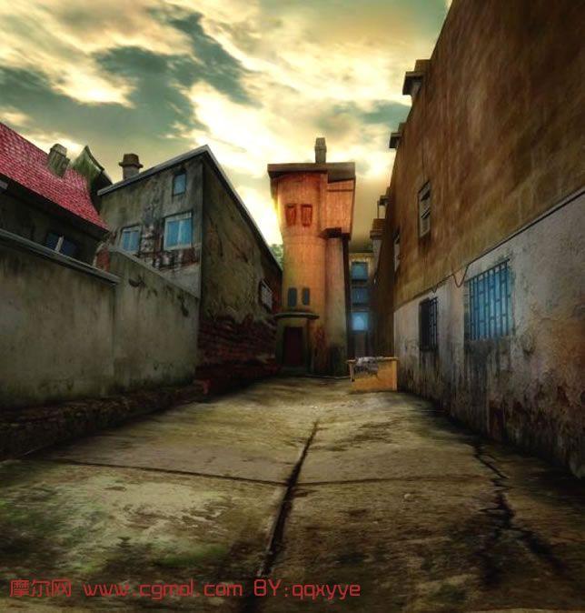 漂亮的小巷场景maya模型图片 高清图片