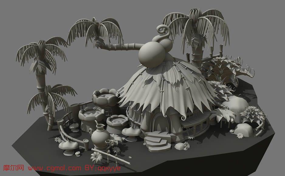 热带 卡通场景 , maya 模型,现代场景,场景模型,3d 高清图片