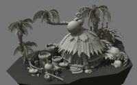 热带卡通场景,maya模型