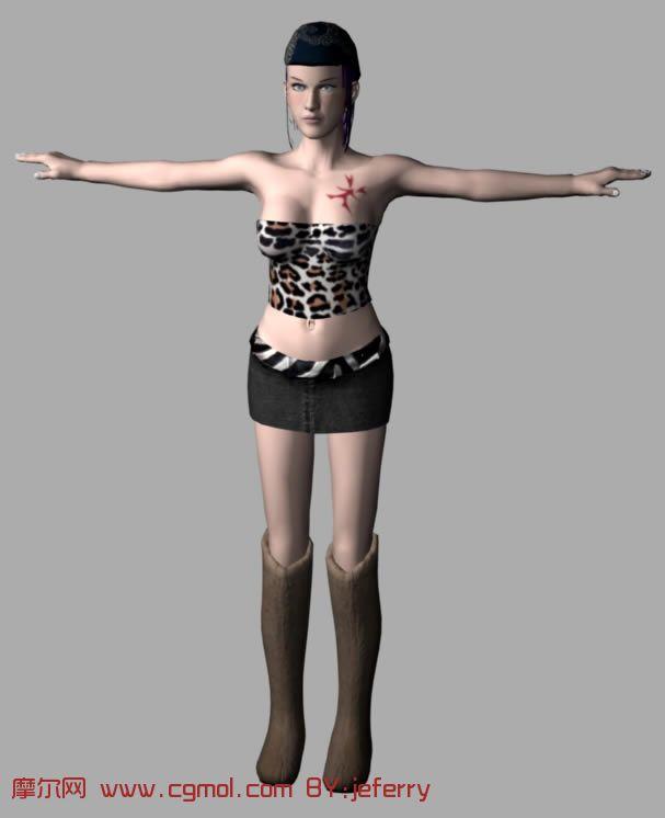 maya时尚摩登短裙女郎,女人模型 现实角色 动画角色 高清图片