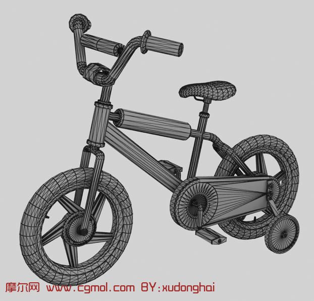 3D小孩自行车,max模型