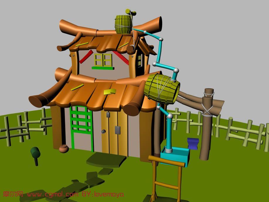 一个卡通房屋 房子 院子 maya模型高清图片