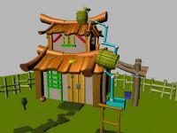 一个卡通房屋,房子,院子,maya模型