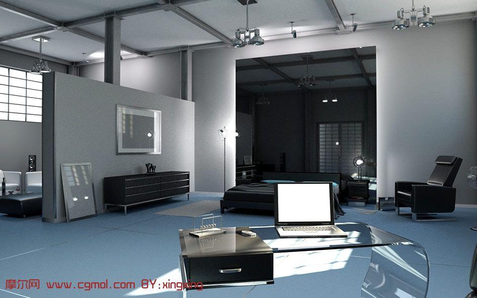 冷色调时尚室内设计3D模型