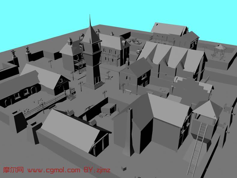 小区,城镇maya模型高清图片