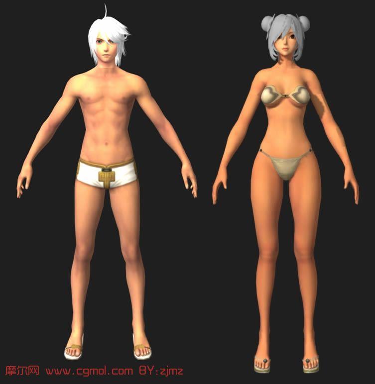 游戏中的男女角色,maya模型高清图片