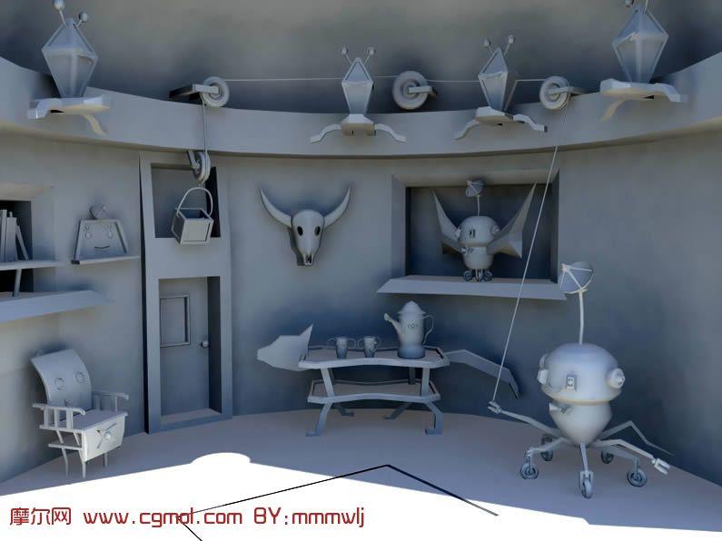 小屋内一角场景3D模型