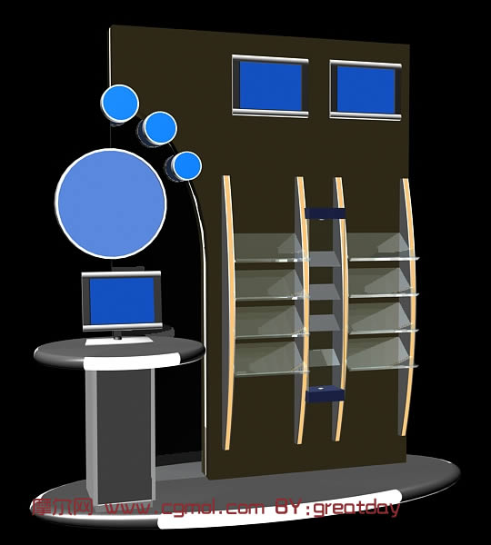 转载作品: 展示柜-电脑终端3d模型