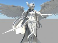 超帅的美女天使,女战士,maya高模(超酷翅膀)