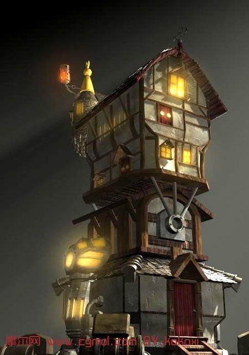 可以移动的房子(带房子跳跃动画)maya模型