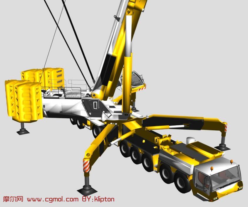 超级起重机,吊车,起吊机3D模型