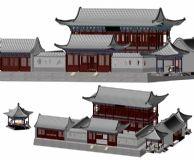 中式古建筑,古建,阁楼3D模型