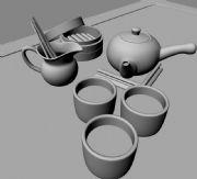 茶具,茶壶,蒸笼组合的maya模型