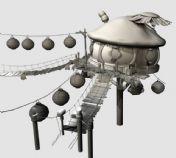 卡通蘑菇头小屋,maya建筑场景模型