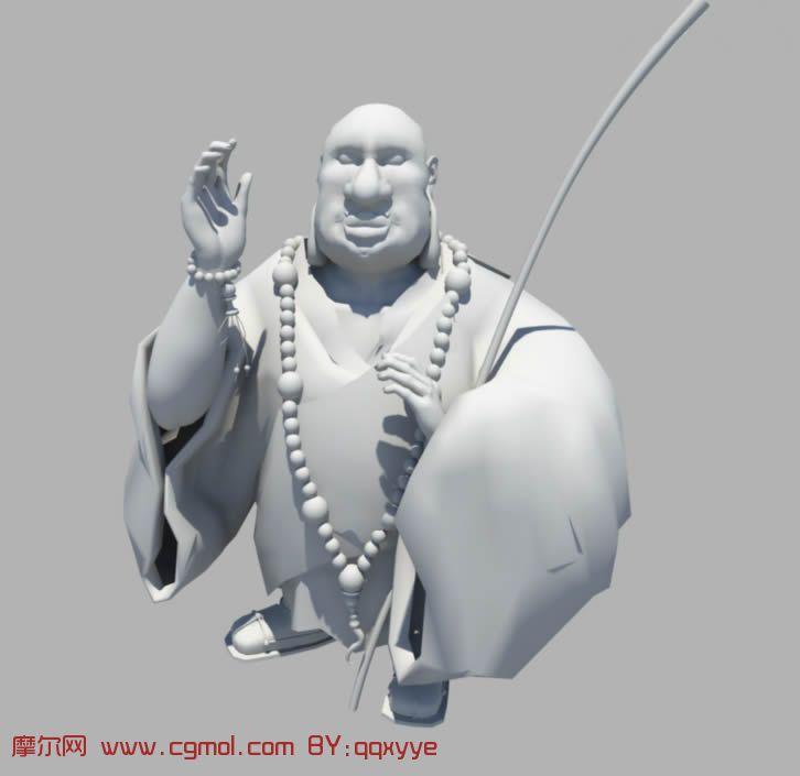 胖和尚,maya卡通人物模型,卡通角色,动画角色 高清图片