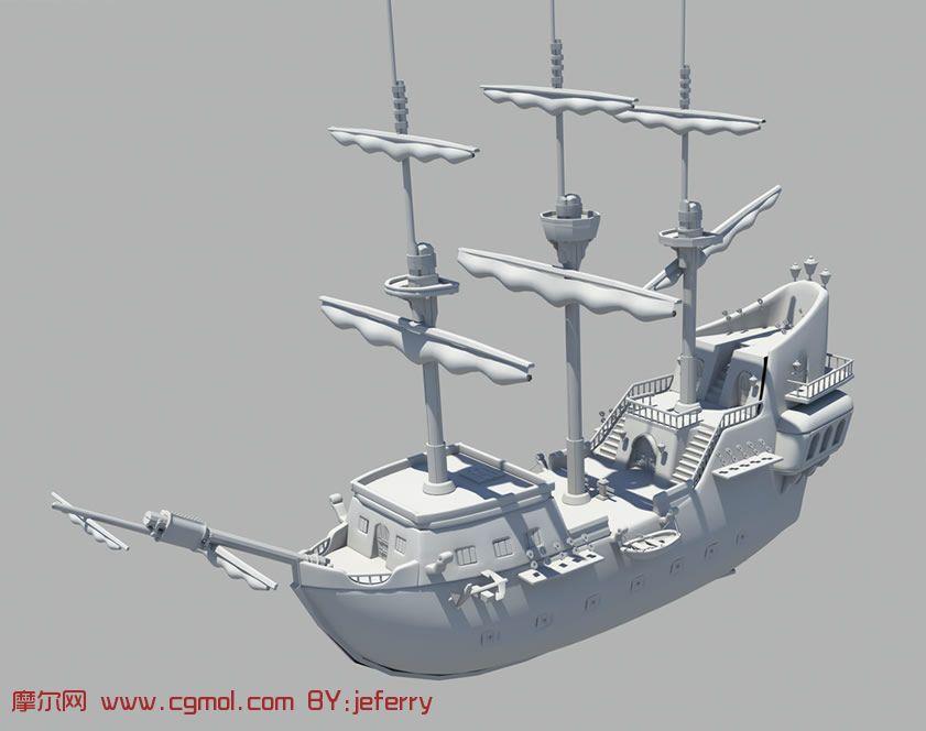 一艘船,海盗船,maya模型