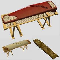 三款古筝,古琴3D模型