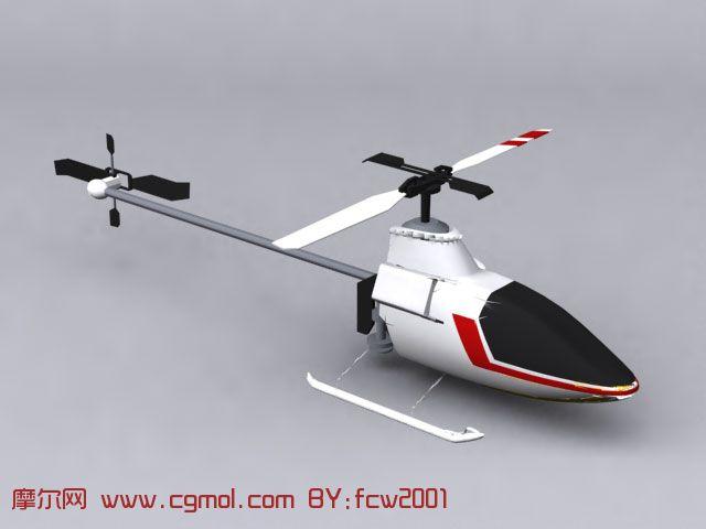 白色小型直升机3d模型
