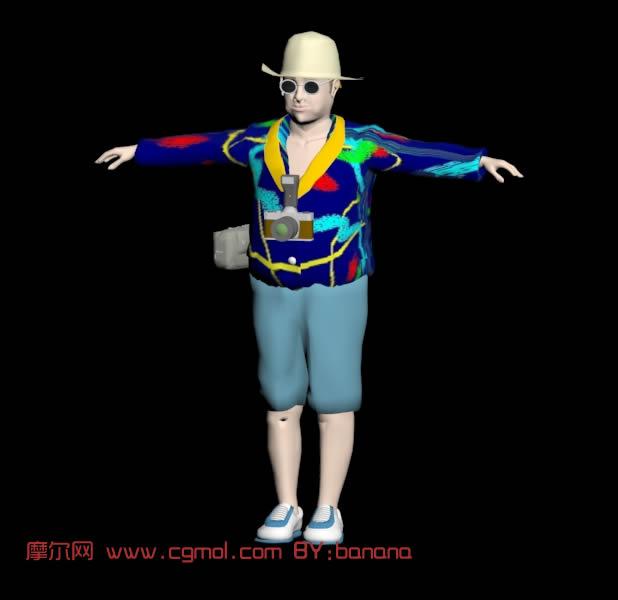 着彩色休闲装的游客3D模型