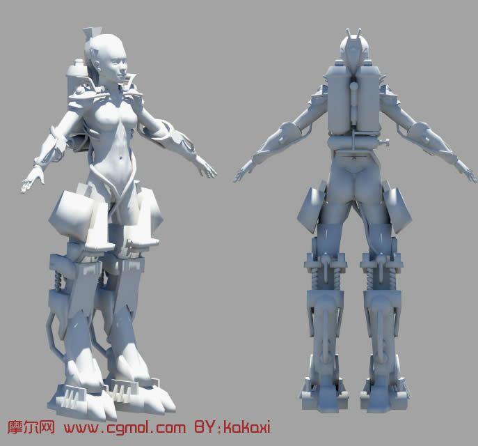 女机器人 maya科幻角色模型高清图片
