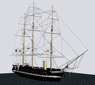 高大的帆船3D模型