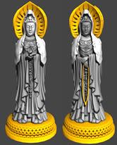 双面观音佛像,观音雕塑3D模型