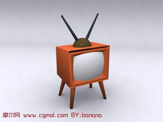 老式電視機3d模型
