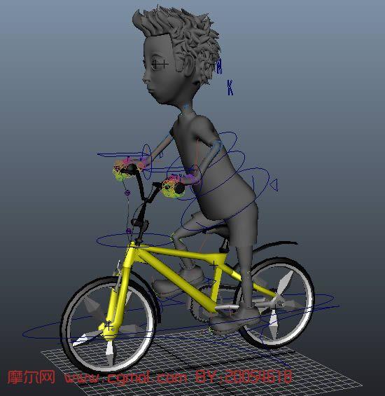 骑自行车的小男孩,maya卡通人物模型(绑定,带骑车动作)