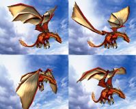 振翅高飞的红龙3D模型(带振翅动作)