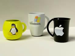 带有腾讯企鹅,微软,苹果LOGO的杯子,咖啡杯3D模型