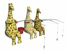 钓鱼的长颈鹿3D模型