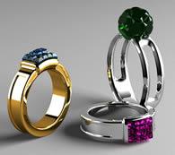 彩色宝石戒指3D模型