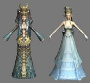 网游天堂2中的2个女角色,3D游戏角色模型