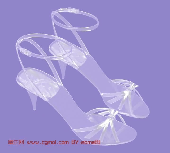 时尚水晶高跟鞋 凉鞋 水晶凉鞋3d模型