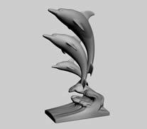 跳跃的海豚雕塑3D模型